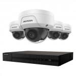 Ensemble 4K Hikvison à 4 canaux avec 4 caméras dômes de 4MP, vision nuit jusqu'à 100ft avec disque dur 1 To.