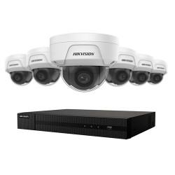 Ensemble 4K Hikvison à 8 canaux avec 6 caméras dômes de 4MP, vision nuit jusqu'à 100ft avec disque dur 2 To.