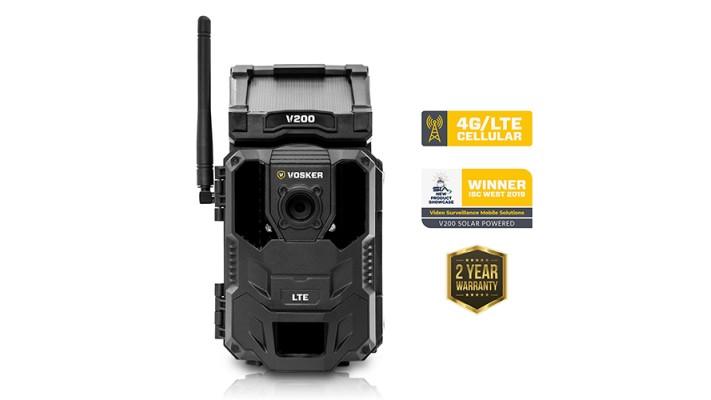 Vosker V200 - Caméra de sécurité extrieure mobile LTE avec panneau solaire + Bloc alimentation VLITBC Gratuit